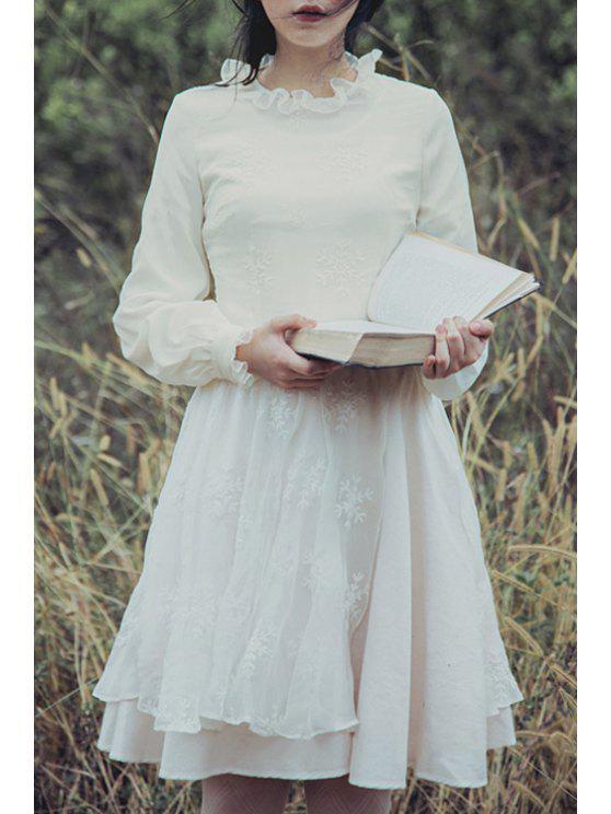 lady Multi-Layered Embroidery Skirt - WHITE XL