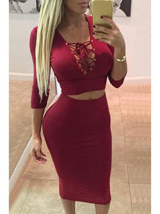outfit Plunging Neck Crop Top and Pencil Skirt Suit - RED XL