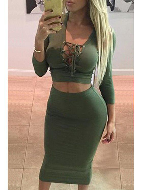 trendy Plunging Neck Crop Top and Pencil Skirt Suit - GREEN L