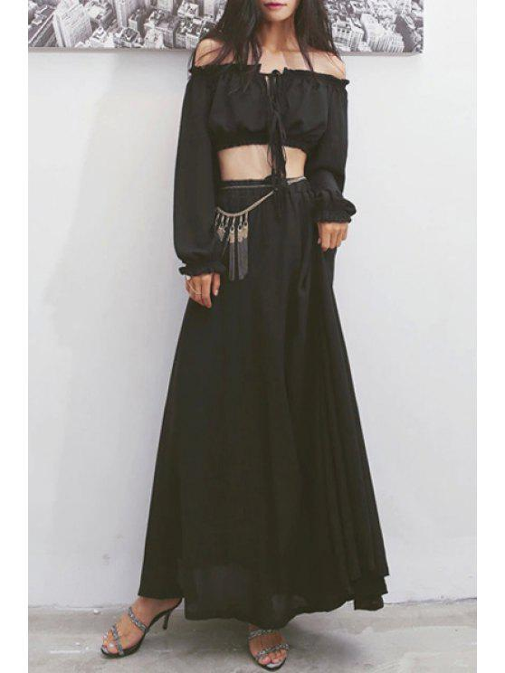 hot Slash Neck Tie-Up Crop Top + Long Skirt - BLACK ONE SIZE(FIT SIZE XS TO M)
