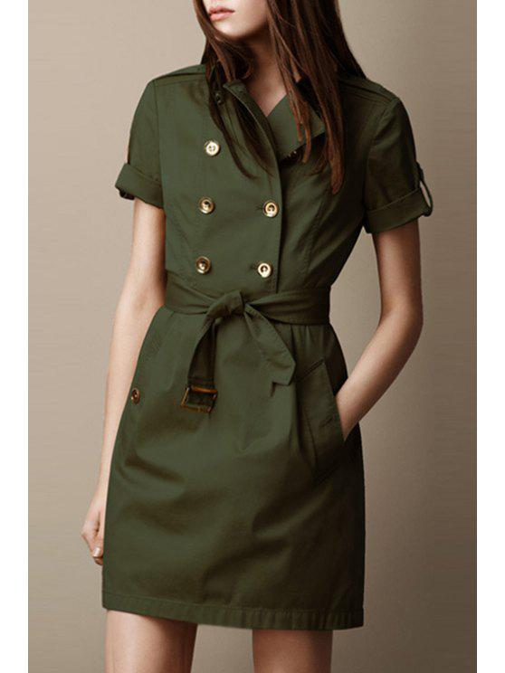 trendy Half Sleeve Double-Breasted Coat Dress - ARMY GREEN S