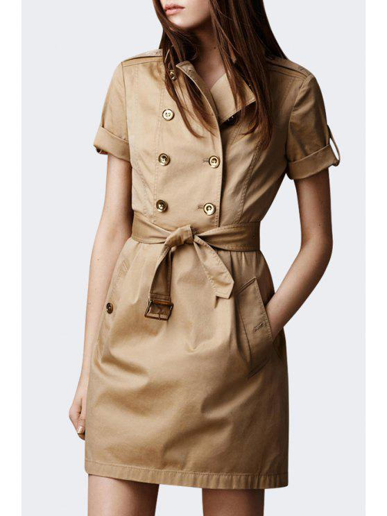 912e3659d71b 31% OFF  2019 Half Sleeve Double-Breasted Coat Dress In KHAKI