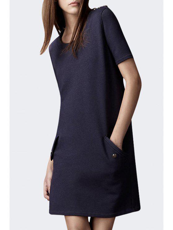 fancy Short Sleeve Epaulet Pocket Design Dress - DEEP BLUE S