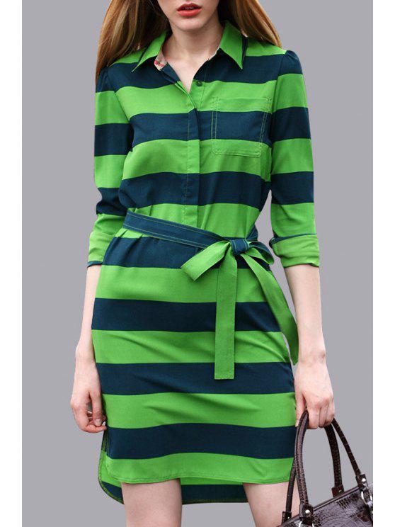 women's Green Stripes Self-Tie Belt Dress - GREEN S