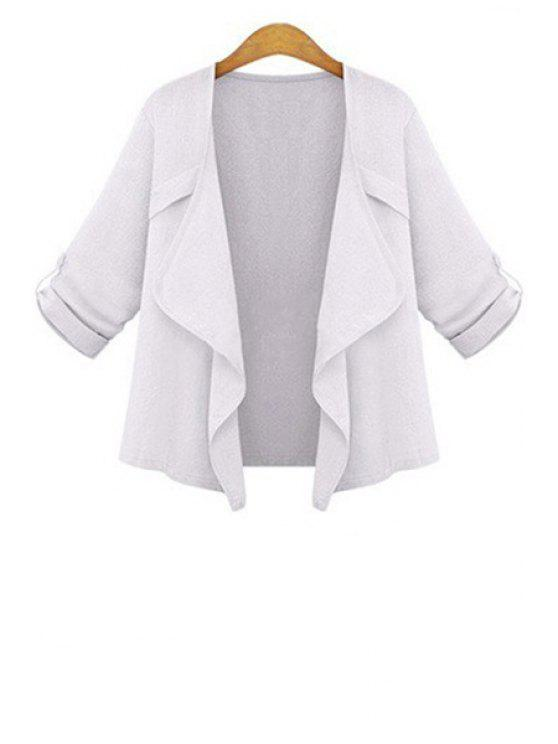 womens Solid Color Turn-Down Collar 3/4 Sleeve Coat - WHITE S