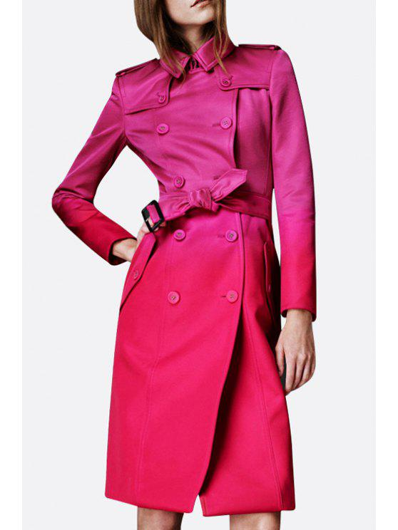 ladies Double-Breasted Ombre Color Trench Coat - DEEP PINK S