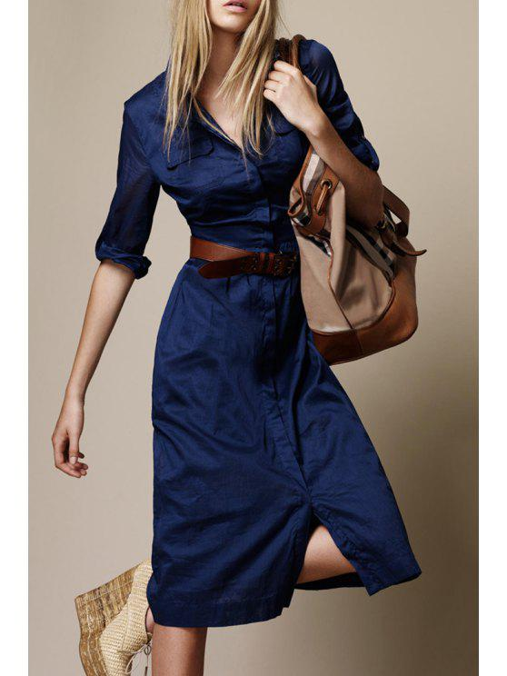 affordable Front Slit Two Pockets Midi Dress - BLUE S