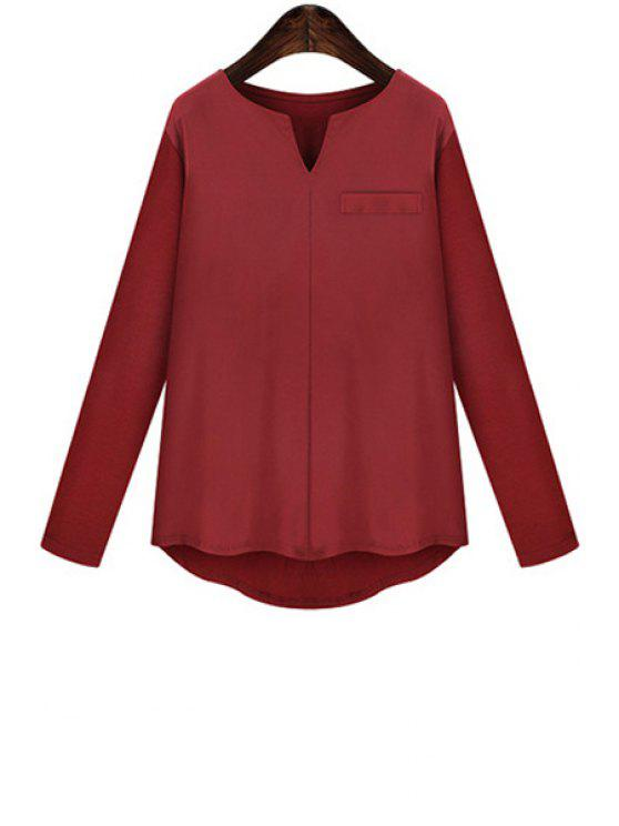 outfits V-Neck Solid Color High Low Long Sleeve T-Shirt - WINE RED XL