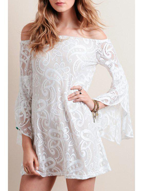 shop Bell Sleeve Openwork Lace Hook Dress - WHITE L