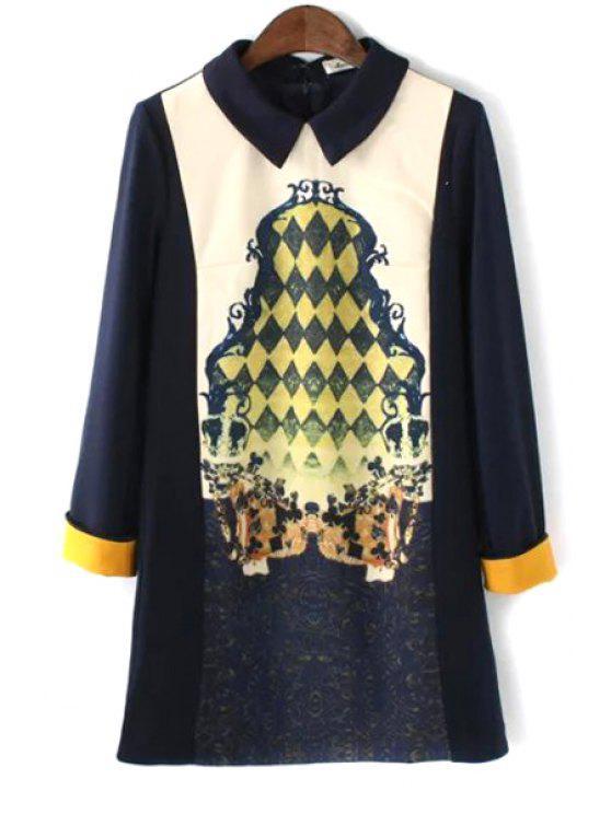 outfits Argyle Print Turn Down Collar Long Sleeve Dress - BLACK S