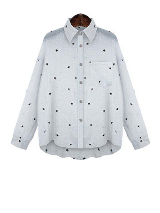 best Star Print High Low Long Sleeve Shirt - WHITE XL