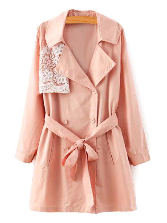 womens Lace Spliced Lapel Long Sleeve Trench Coat - PINK S