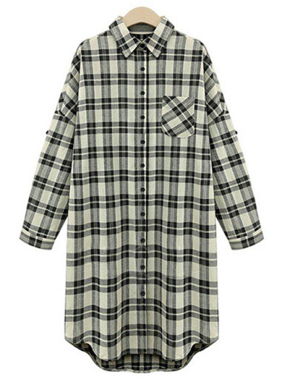 fashion High Low Checked Long Sleeve Shirt - WHITE AND BLACK XL