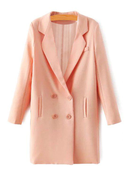 shop Pure Color Lapel Long Sleeves Blazer - ORANGE S