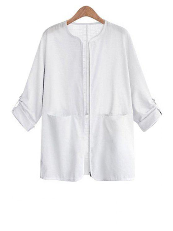buy Zipper Fly Solid Color Long Sleeve Coat - WHITE S