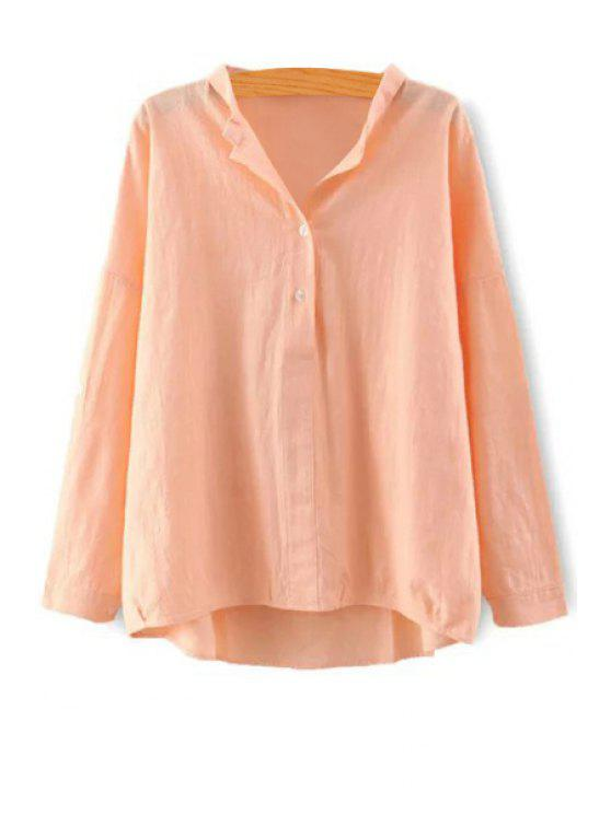 latest Pure Color Stand Neck Long Sleeve Blouse - ORANGE S