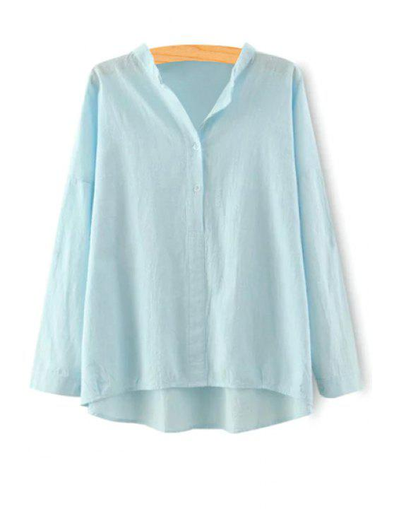 affordable Pure Color Stand Neck Long Sleeve Blouse - BLUE L