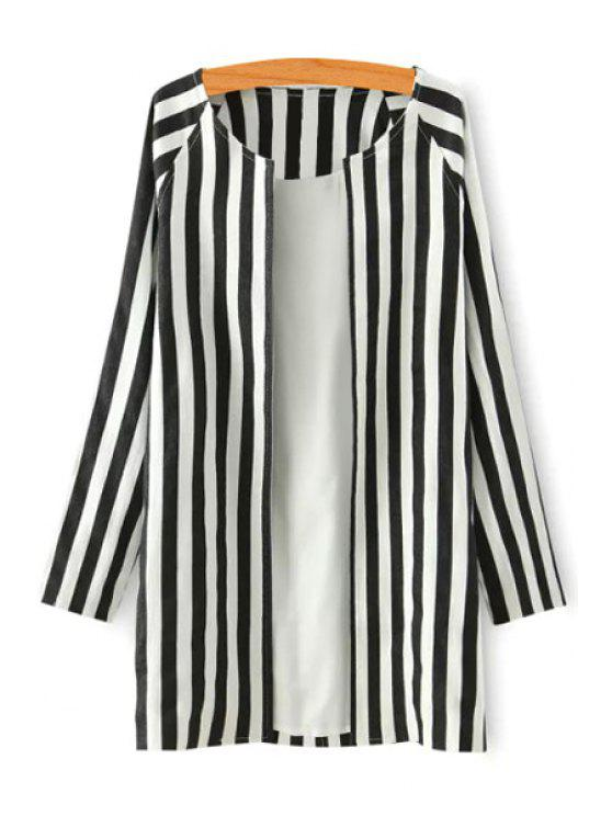 chic Striped Scoop Neck Long Sleeve Coat - WHITE AND BLACK S