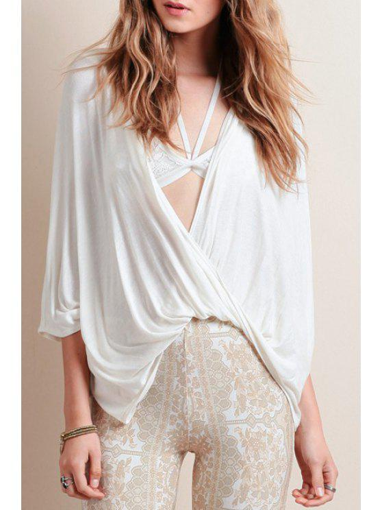 Deep V cuello frente Twist blusa blanca - Blanco M