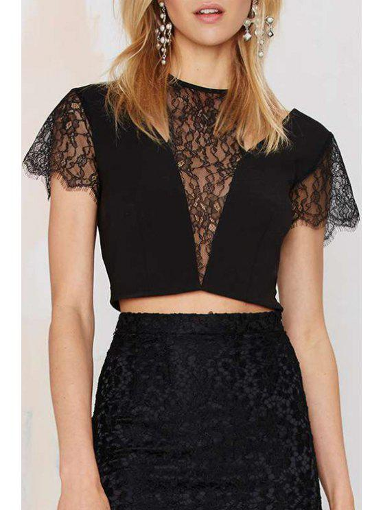latest Short Sleeve Lace Spliced Crop Top - BLACK S