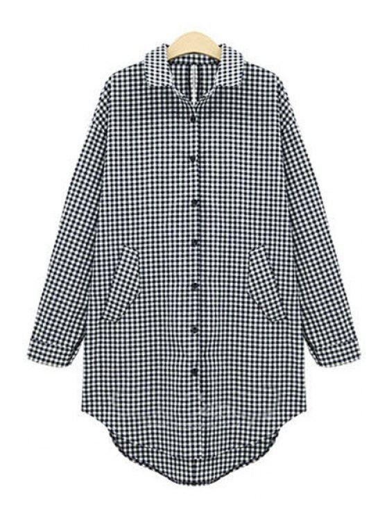 ladies Plaid Single-Breasted Long Sleeve Shirt - AS THE PICTURE XL