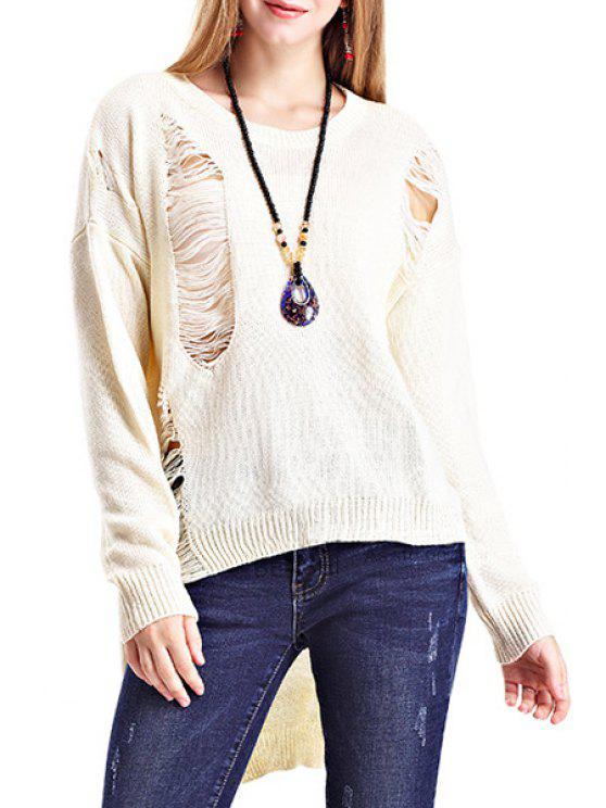 outfit Long Sleeves Hollow-Out Asymmetric Pullover Sweater - APRICOT ONE SIZE(FIT SIZE XS TO M)