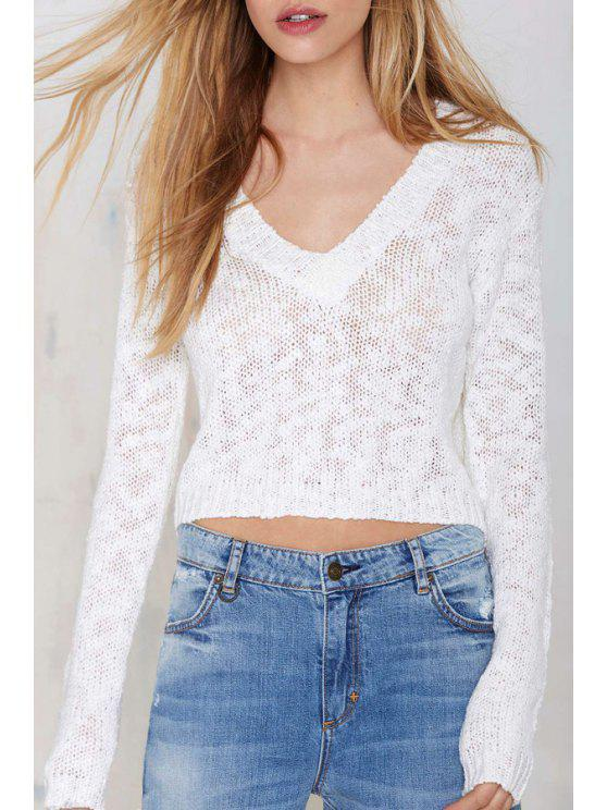 outfits V-Neck White Crop Sweater - WHITE S