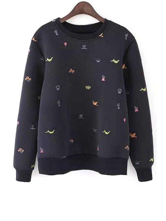 sale Embroidery Round Neck Long Sleeve Sweatshirt - CADETBLUE S