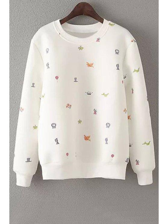 womens Embroidery Round Neck Long Sleeve Sweatshirt - OFF-WHITE S