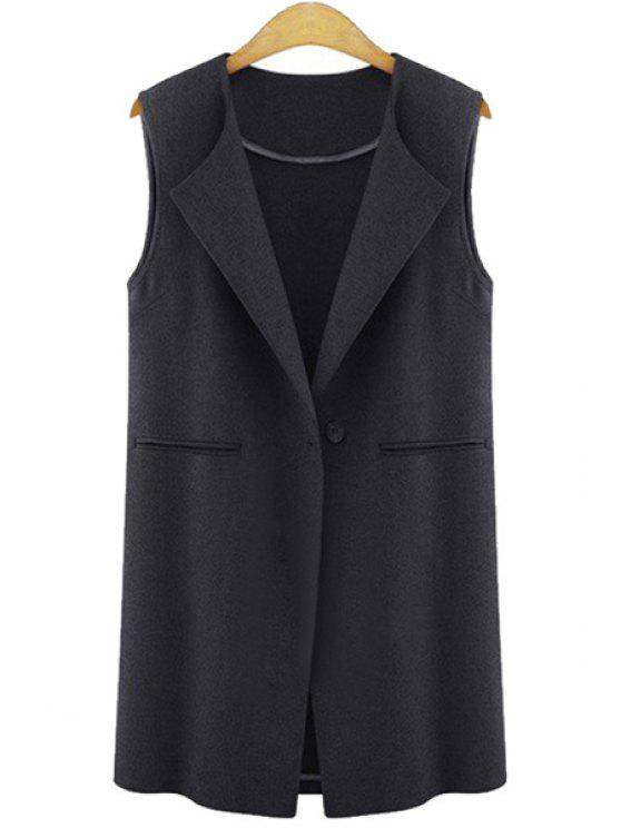 women's Solid Color One Button Sleeveless Waistcoat - BLACK S
