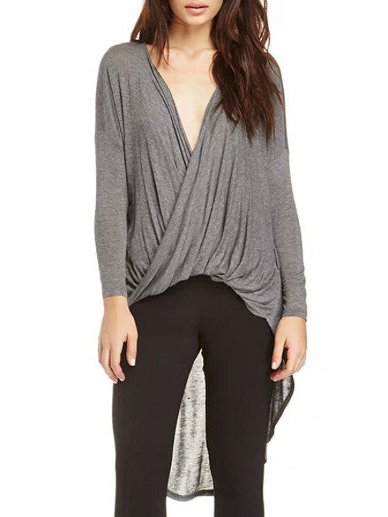 latest Cross High Low Plunging Neck Long Sleeve T-Shirt - GRAY S