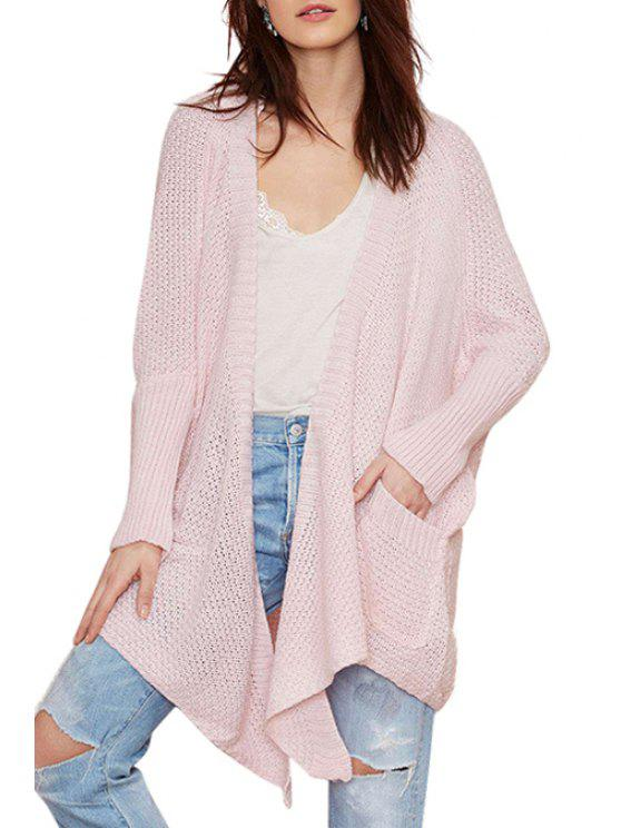 fashion Batwing Sleeve Irregular Pink Cardigan - PINK S