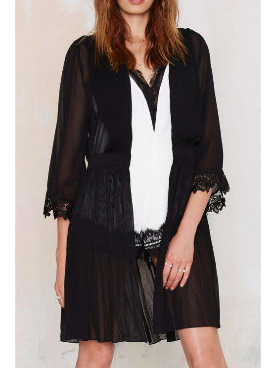 buy Black See-Through 3/4 Sleeve Blouse - BLACK S