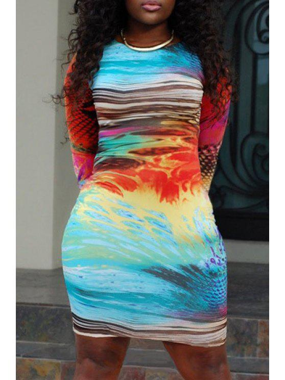chic Jewel Neck Colorful Printed 3/4 Sleeve Dress - COLORMIX S