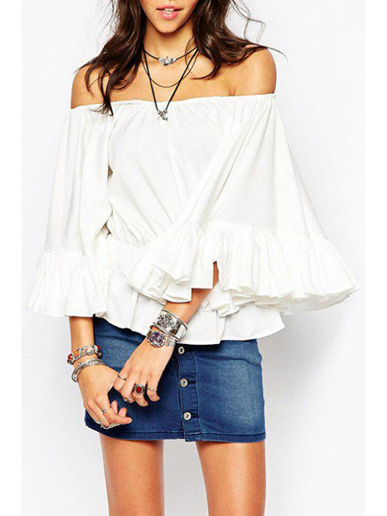 lady White Ruffled Slash Neck 3/4 Sleeve Blouse - WHITE S