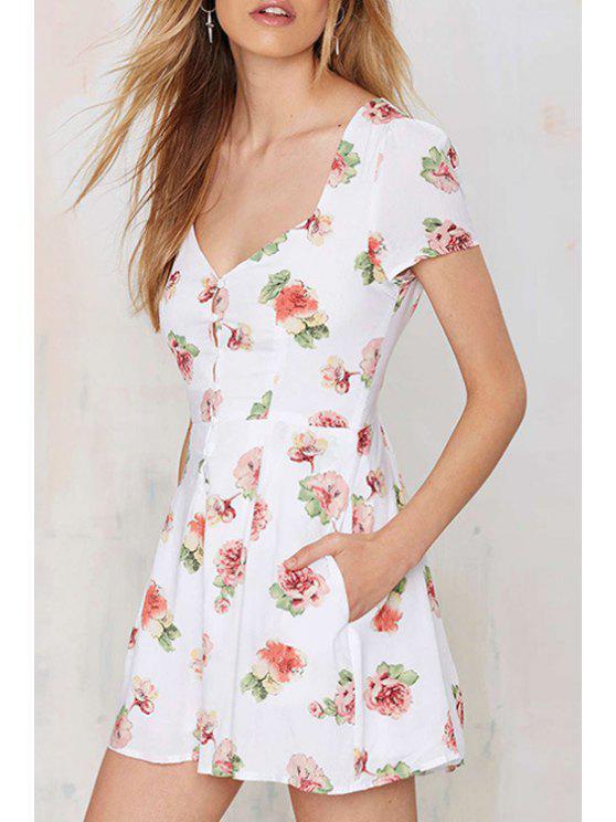 hot Full Flower Print V Neck Short Sleeve Dress - AS THE PICTURE S