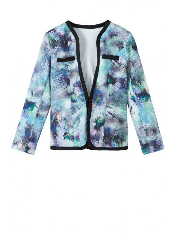 trendy V-Neck Tie Dye Long Sleeve Coat - COLORMIX S