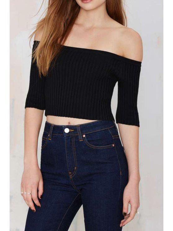 shops Solid Color Slash Neck Half Sleeve Jumper - BLACK M