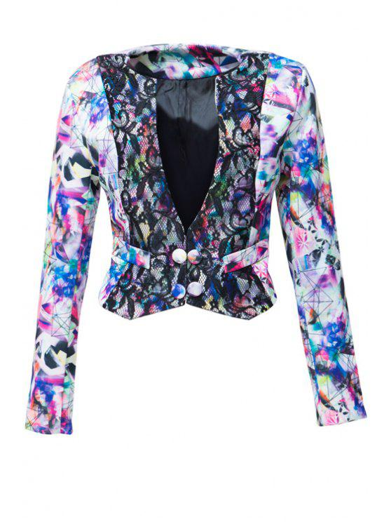 unique Plunging Neck Colorful Printed Long Sleeve Coat - AS THE PICTURE S