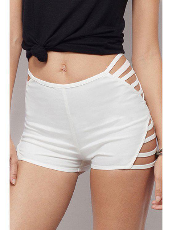shops Covered Zipper Skinny Openwork Shorts - WHITE S