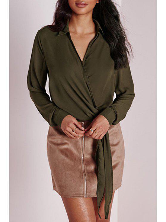 Blusa del verde del ejército del nudo del lazo - Verde del ejército L
