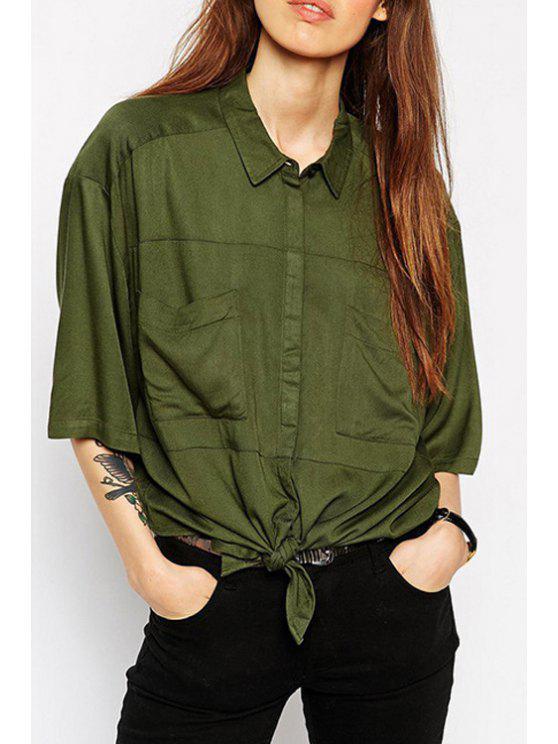 outfit Green Shirt Neck Half Sleeve Shirt - GREEN S
