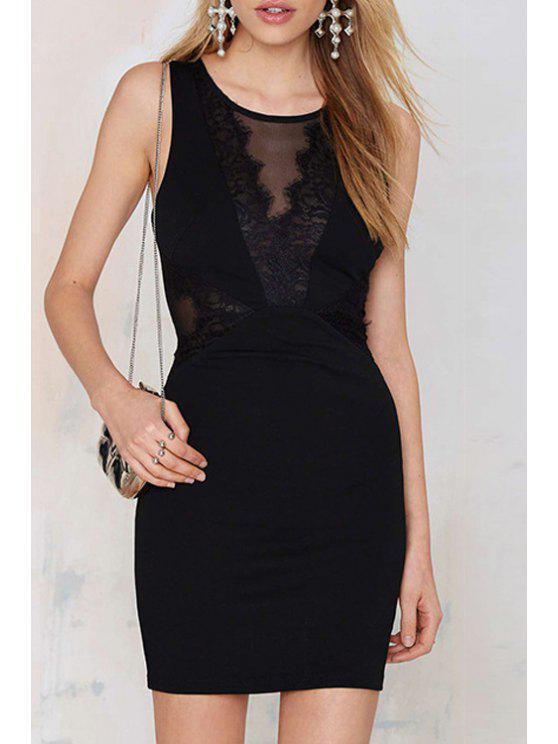 outfit Black Jewel Neck Sleeveless Bodycon Dress - BLACK S
