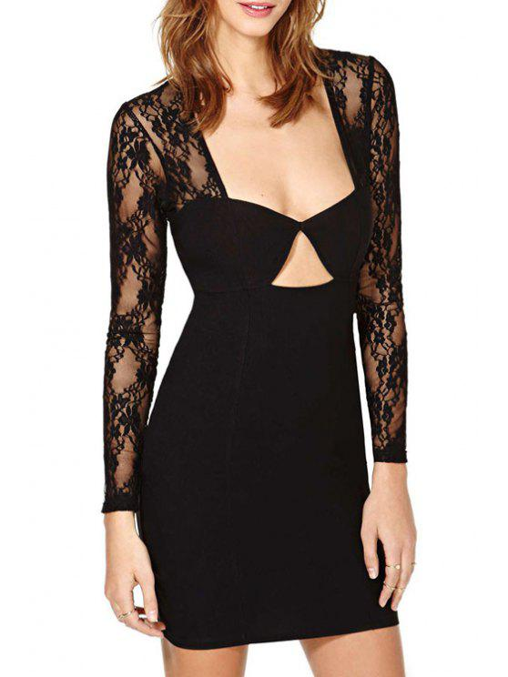 trendy Lace Spliced Long Sleeve Backless Bodycon Dress - BLACK S