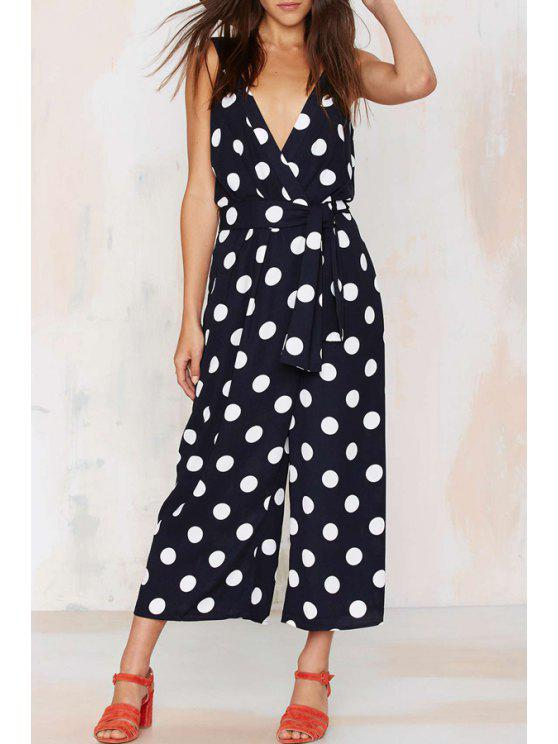 hot Sleeveless Polka Dot Wide Leg Jumpsuit - WHITE AND BLACK S