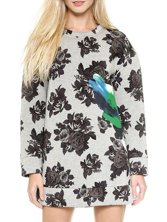 latest Full Rose Print Round Neck Long Sleeve Dress - GRAY S