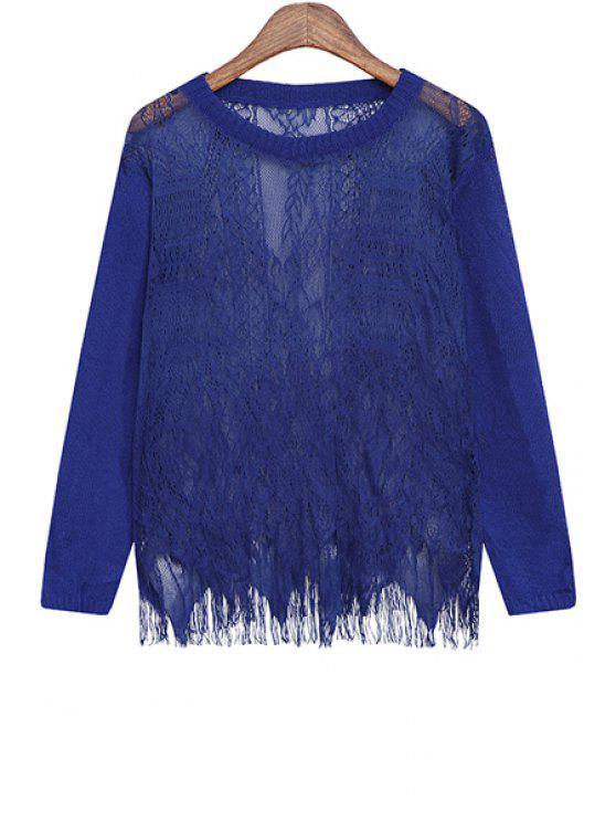 fashion Lace Round Collar Solid Color Pullover Sweater - BLUE ONE SIZE(FIT SIZE XS TO M)
