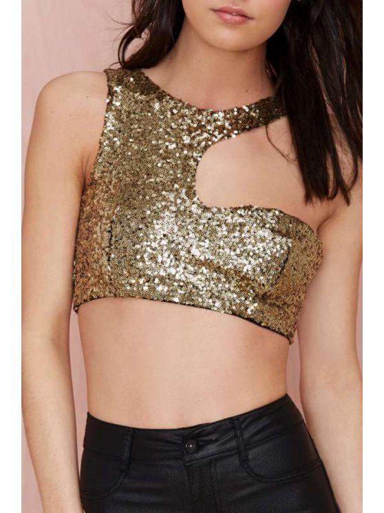 women's Fitted Glitter Crop Top - GOLDEN XL