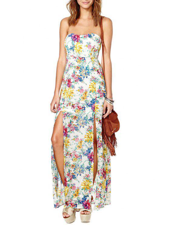 lady Full Flower Print Strapless Maxi Dress - WHITE S