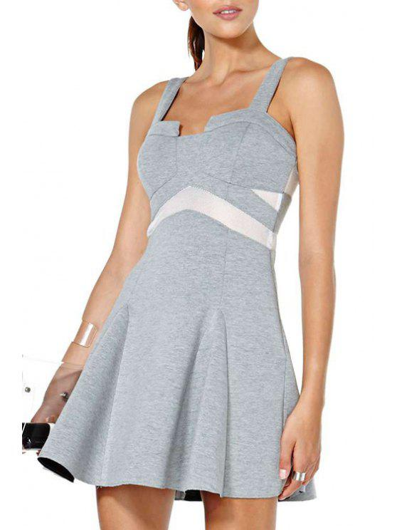 fashion Color Block Flouncing Sleeveless Dress - GRAY 2XL